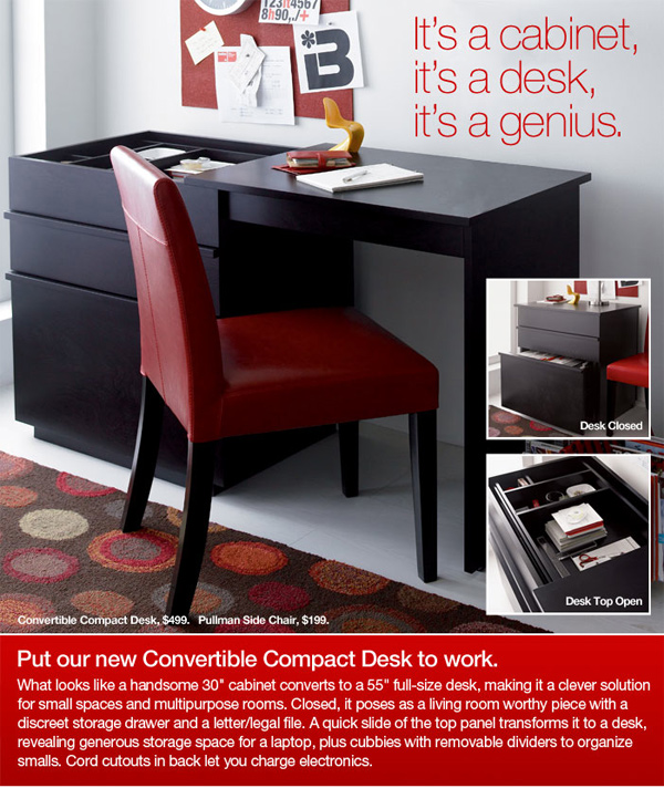 Convertible Compact Desk It S A Cabinet Genius Crate And Barrel Lovely New Deskinet